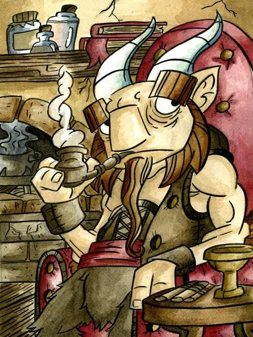 Satyr sitting in his house